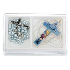 Set souvenir chapelet et croix bleu Communion ESPAGNOL s1