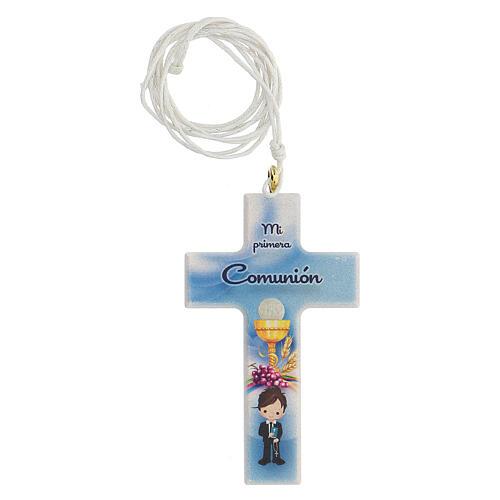 Set souvenir chapelet et croix bleu Communion ESPAGNOL 2