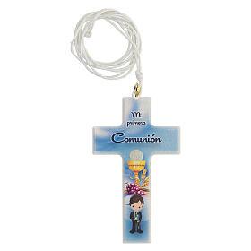 Ricordo Comunione croce e rosario azzurro spagnolo s2