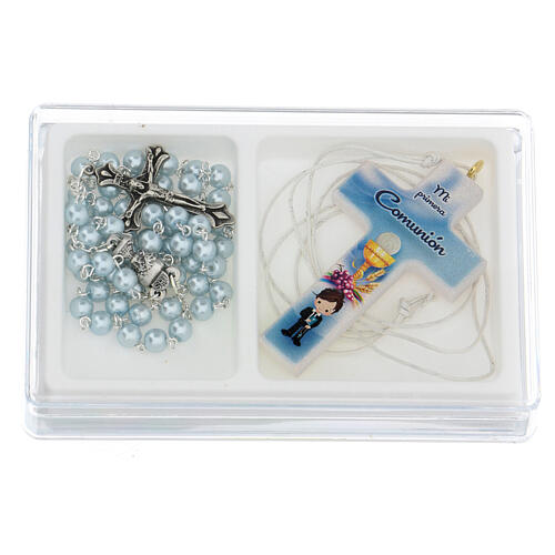 Ricordo Comunione croce e rosario azzurro spagnolo 1