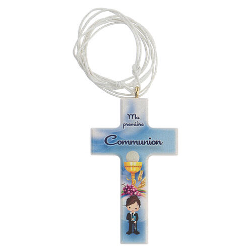 Set souvenir chapelet et croix bleu Communion FRANÇAIS 2
