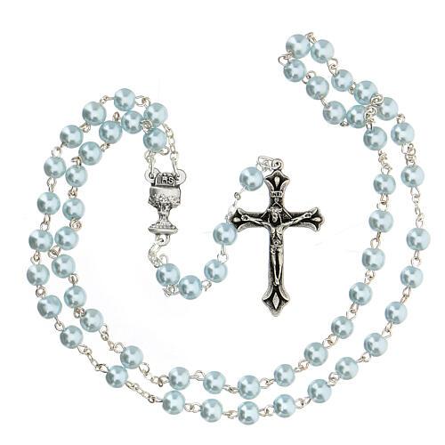 Set souvenir chapelet et croix bleu Communion FRANÇAIS 3