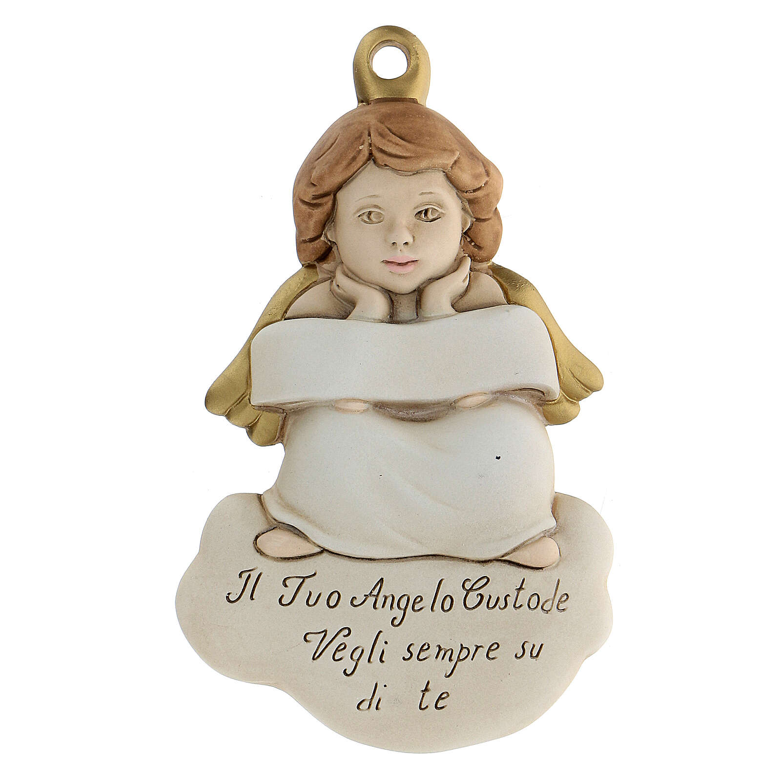 Angel to hang bas-relief white ribbon 3
