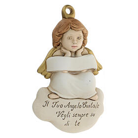 Angel to hang bas-relief white ribbon s2
