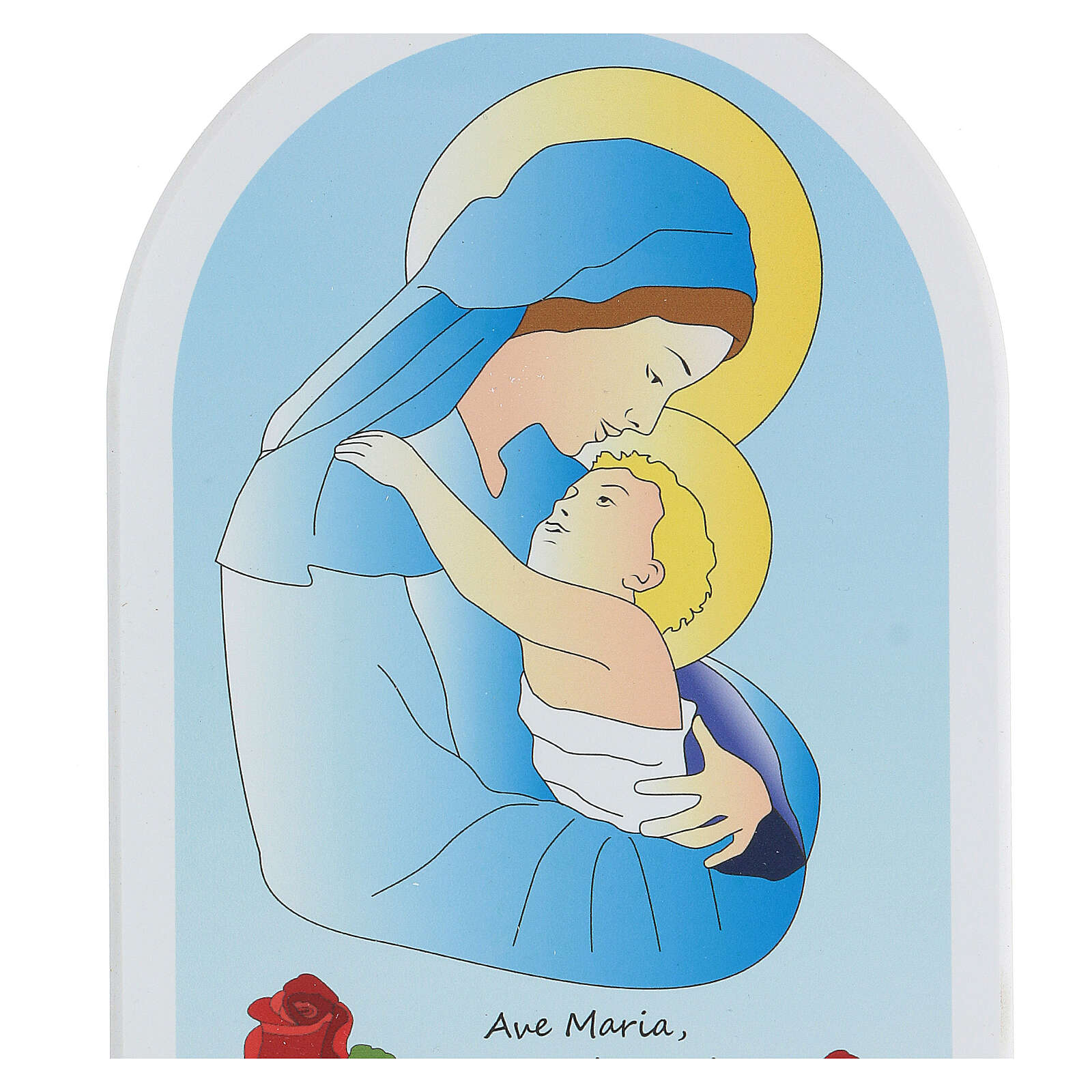 Icona Madonna e bambino cartoon 20 cm 3
