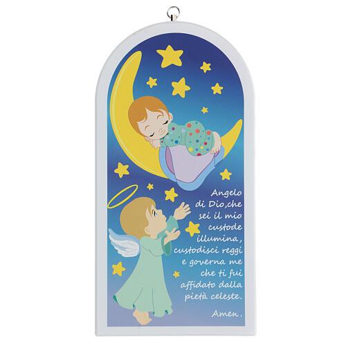 Prière Ange de Dieu icône enfant et lune 1