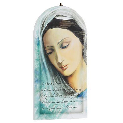 Icono rostro Virgen con oración 25 cm 3
