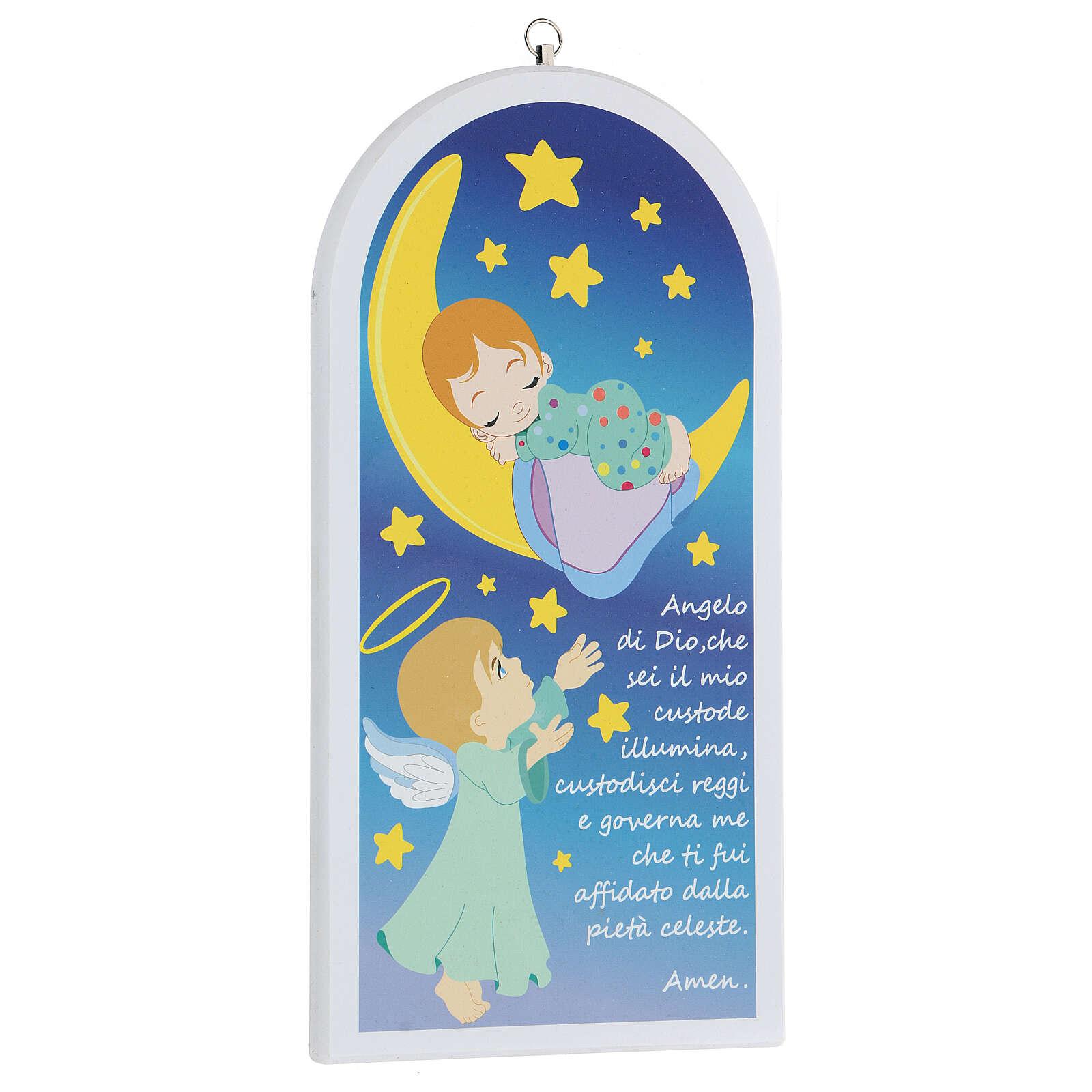 Icono oración Ángel de Dios con luna 30 cm 3