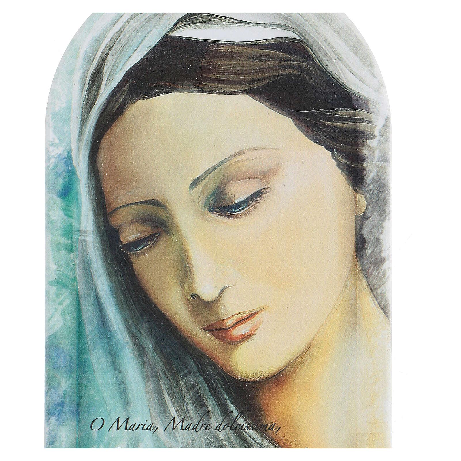 Icono impreso rostro Virgen con oración 30 cm 3