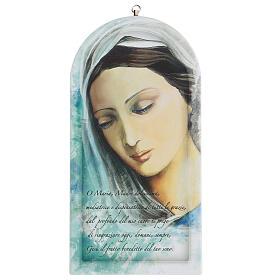 Icono impreso rostro Virgen con oración 30 cm s1