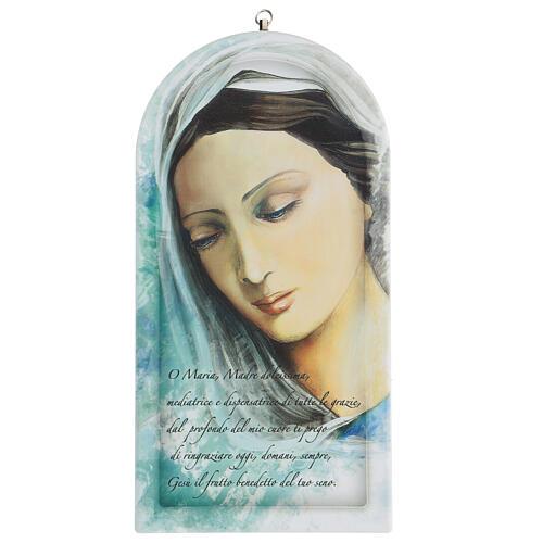 Icono impreso rostro Virgen con oración 30 cm 1