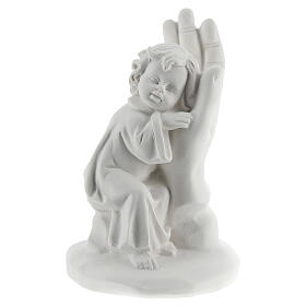 Resin hand with little boy 10 cm s1