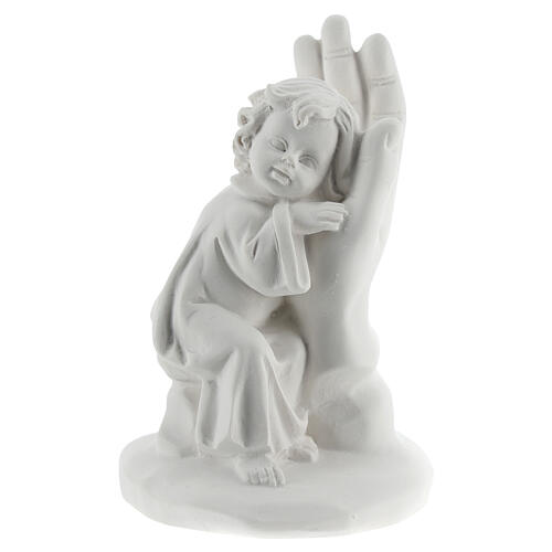 Resin hand with little boy 10 cm 1