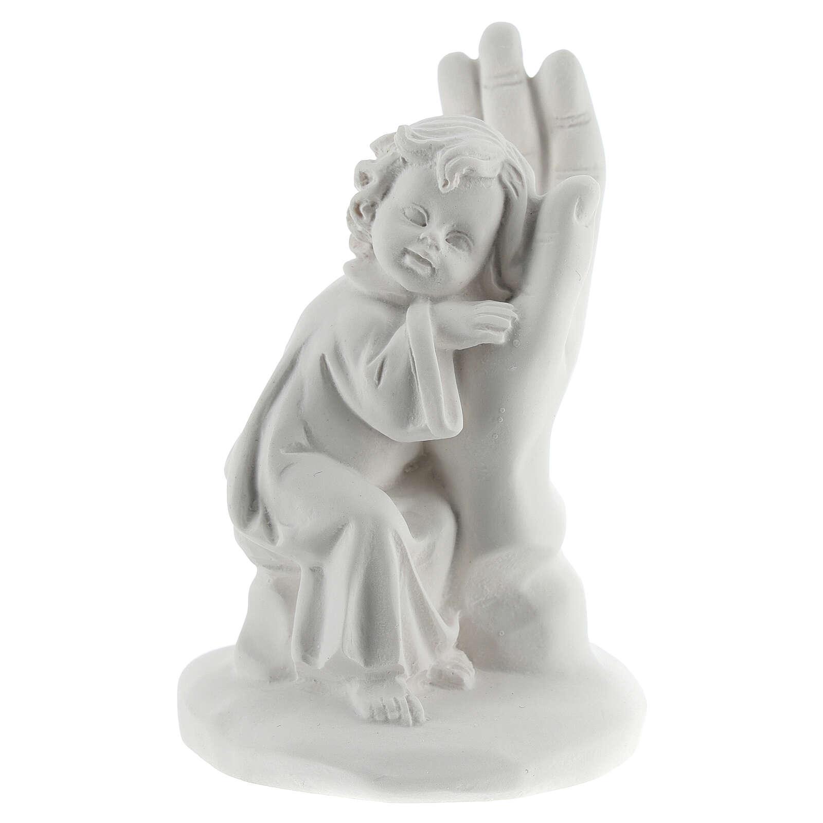 Bambino poggiato su mano resina 10 cm 3