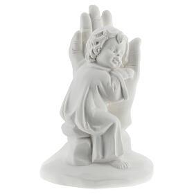 Bambino poggiato su mano resina 10 cm s3