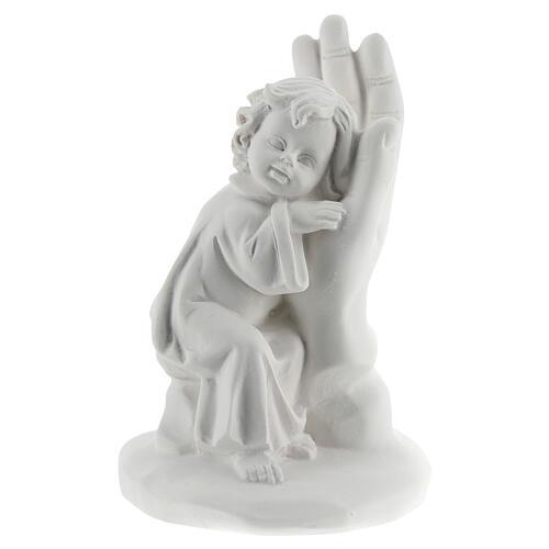 Bambino poggiato su mano resina 10 cm 1