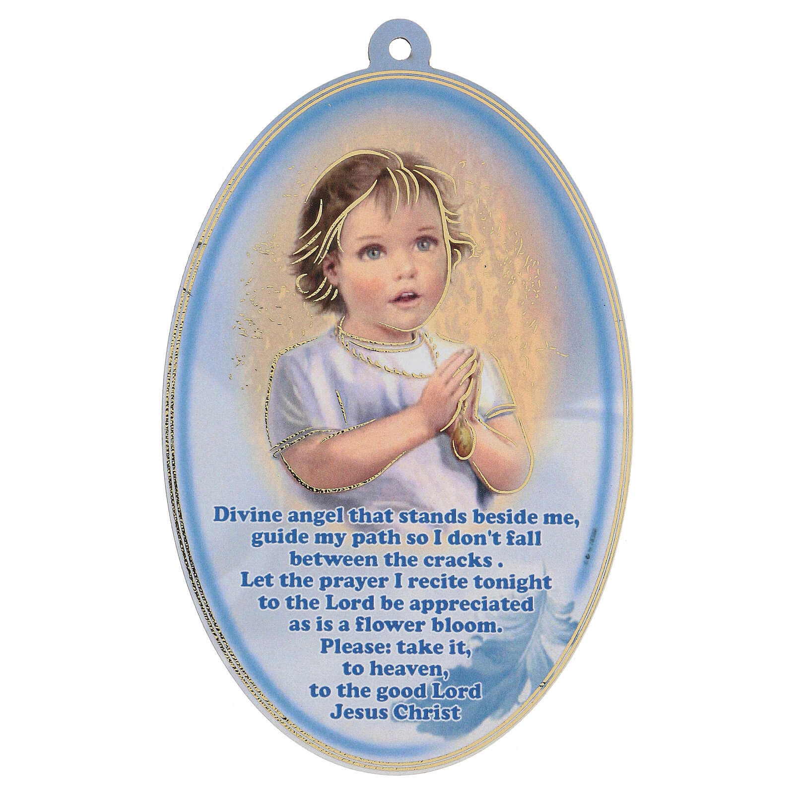 Angel plaque with prayer in English, blue 3