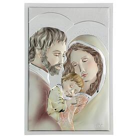 Quadro Sacra Famiglia colorato bilaminato 36x24 cm s1
