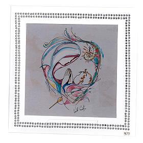 Cuadrito 18x18 Maternidad swarovski blancos