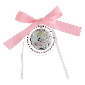 Medallón Swarovski rosa Ángel diám 6 cm
