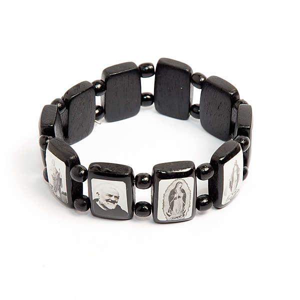 Bracelet-chapelet, dix grains, Vierge, noir 4