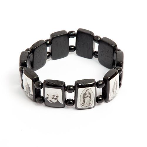 Bracelet-chapelet, dix grains, Vierge, noir 1