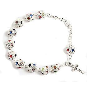 Single decade rosary bracelets: Metal and strass rosary bracelet