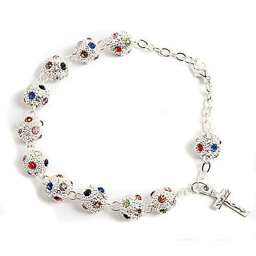 Metal and strass rosary bracelet 1