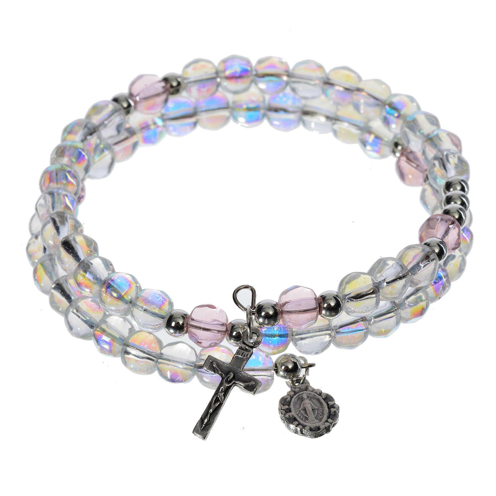 Pulsera rosario vidrio aro de memoria transparente 4