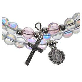 Pulsera rosario vidrio aro de memoria transparente s2
