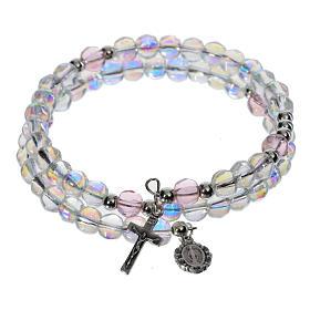 Bracelet-chapelet, à ressort, verre transparent s1