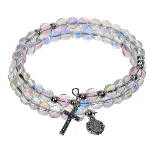 Bracelet-chapelet, à ressort, verre transparent 1