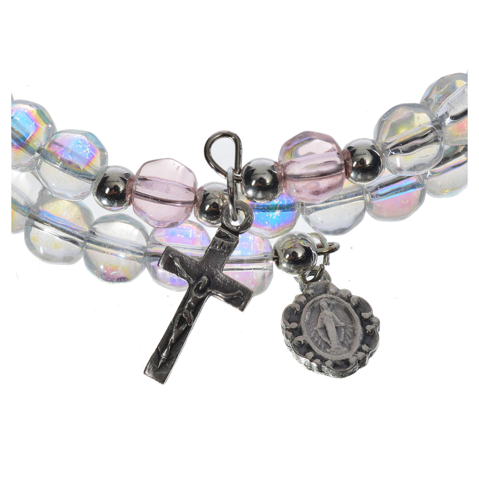 Bracciale rosario vetro molla trasparente 4
