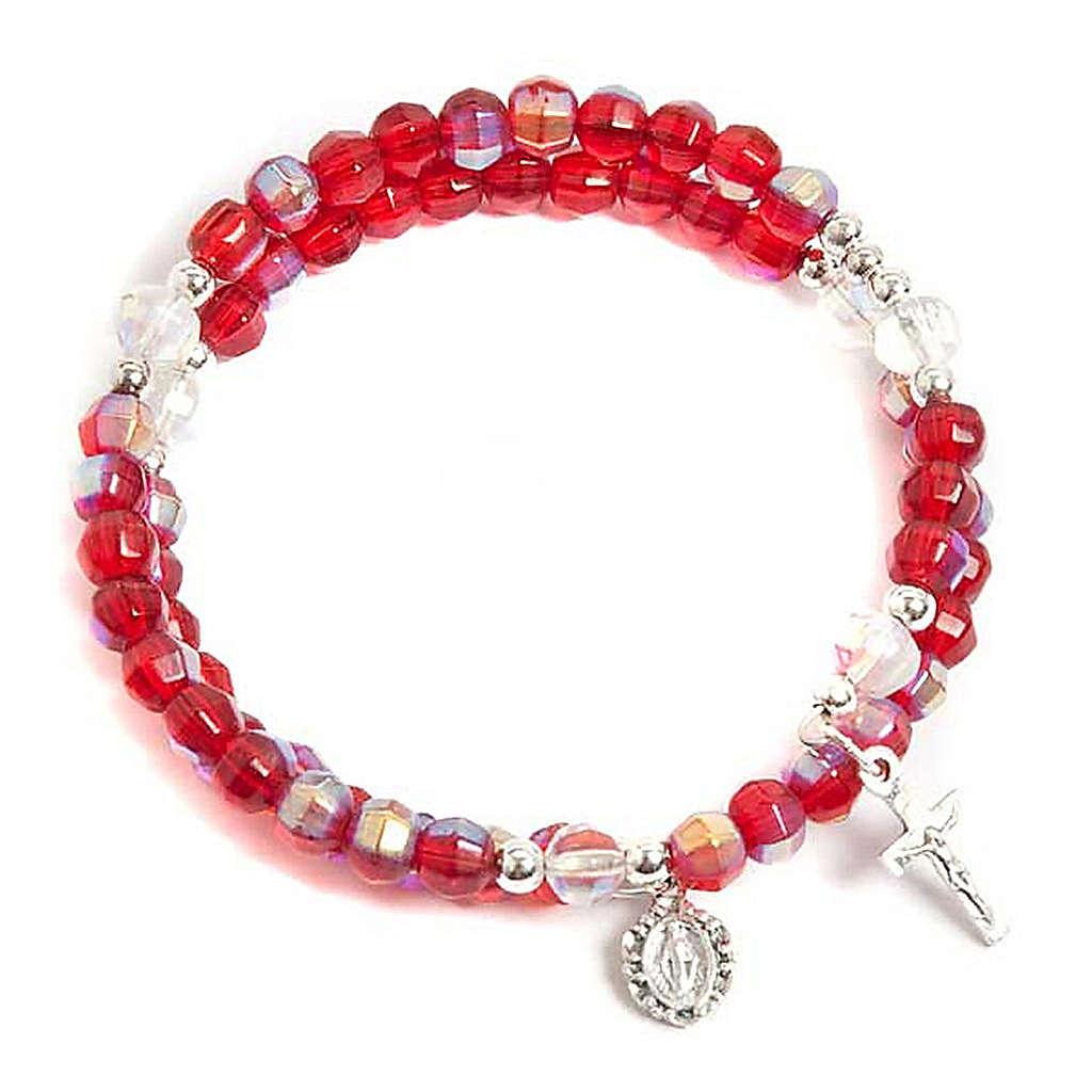 Bracciale rosario vetro molla rosso 4