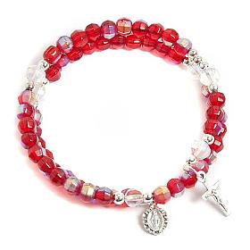 Bracciale rosario vetro molla rosso s1
