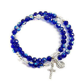 Bracciale rosario vetro molla blu s1
