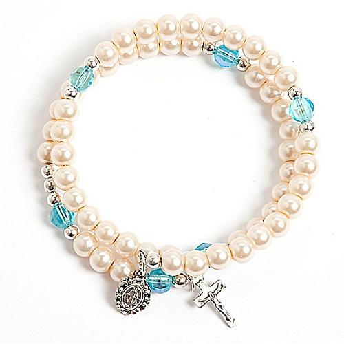 Pulsera rosario símil perla aro de memoria blanca 1