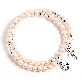 Pulseras rosario con muelle: Pulsera rosario símil perla aro de memoria rosa