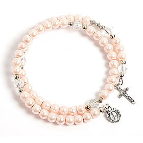 Bracciali  a molla rosario: Bracciale rosario similperla molla rosa