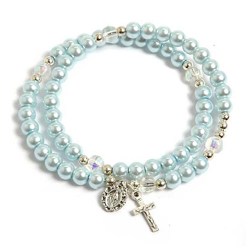 Pulsera rosario símil perla aro de memoria celeste 1