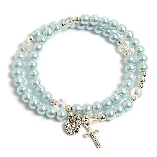 Bracciale rosario similperla molla azzurro 1