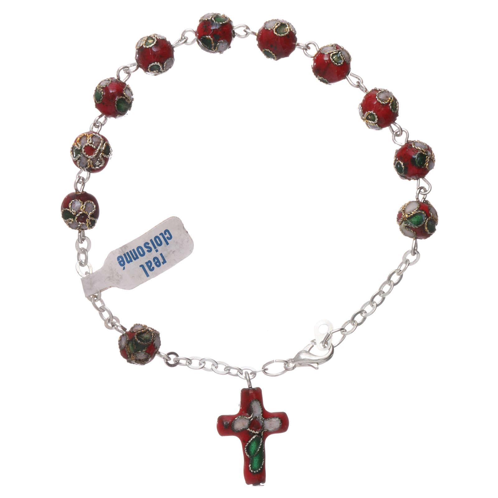 Rosenkranz-Armband Cloisonnè Rot 4