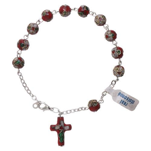 Rosenkranz-Armband Cloisonnè Rot 1