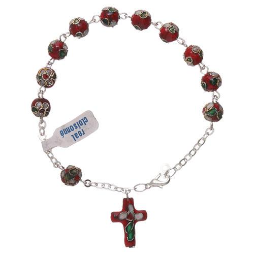Rosenkranz-Armband Cloisonnè Rot 2