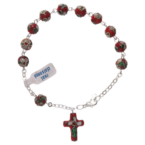 Red cloisonnè rosary bracelet 2
