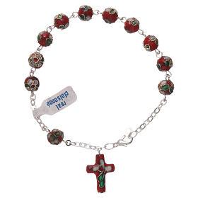 Red cloisonnè rosary bracelet s2