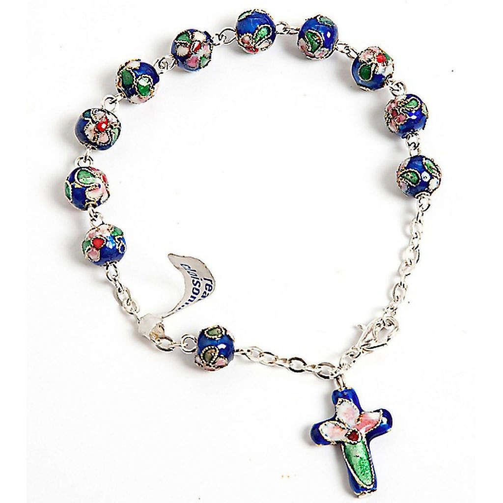 Rosenkranz-Armband Cloisonnè Blau 4