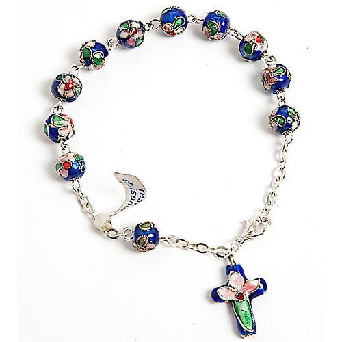 Rosenkranz-Armband Cloisonnè Blau 1