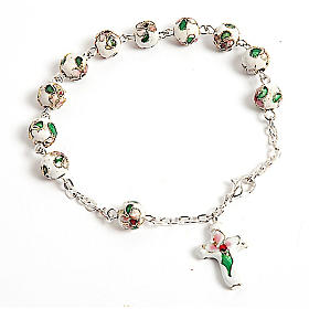 Single decade rosary bracelets: White cloisonnè rosary bracelet 8mm