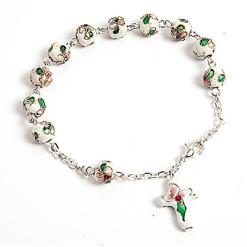 White cloisonnè rosary bracelet 8mm 1